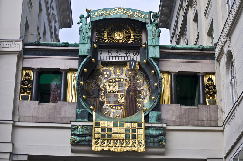 Ankeruhr. Detail of the famous Jugendstil Ankeruhr in Vienna stock photography