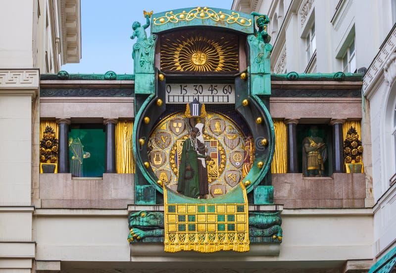 Ankeruhrklok in Hoher Markt - Wenen Oostenrijk stock afbeeldingen