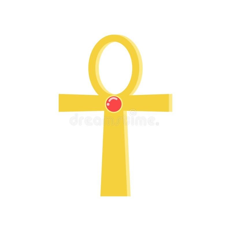 Ankh cross, religious sign of the ancient Egyptian cross, symbol of life, traditional Egyptian culture vector. Illustration on a white background royalty free illustration