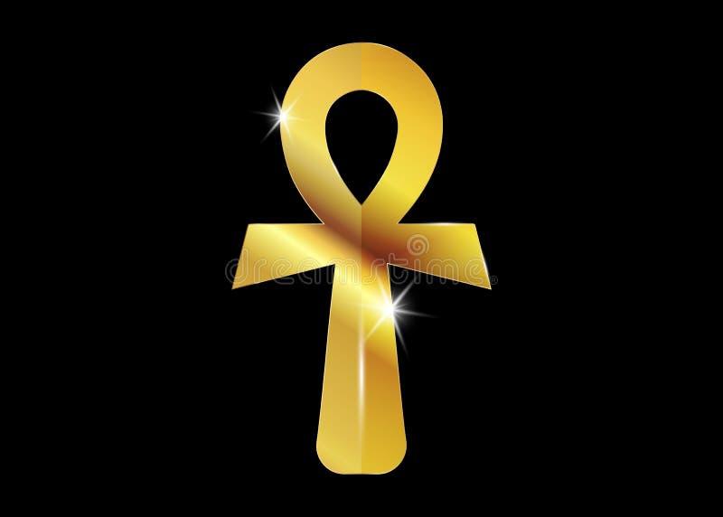 Ankh egipcjanina krzyż również zwrócić corel ilustracji wektora Antykwarskiego złocistego ankh egipski religijny symbol Antyczni  ilustracja wektor