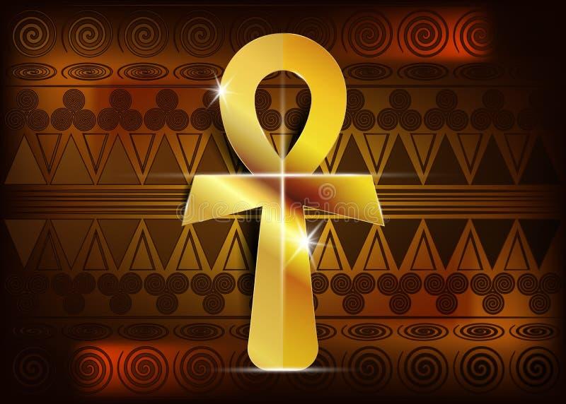Ankh egipcjanina krzyż również zwrócić corel ilustracji wektora Antykwarskiego złocistego ankh egipski religijny symbol Antyczni  royalty ilustracja