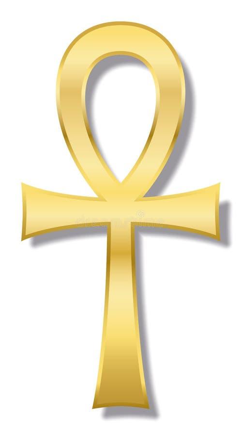 Ankh Egipski Hieroglificzny Złoty symbol royalty ilustracja