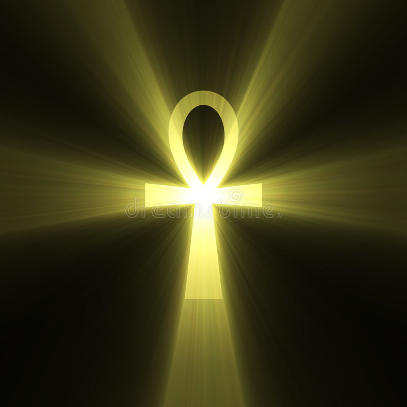 Ankh Egyptian symbol of life light flare. Ankh in ancient Egypt as a symbol of life (Egyptian Cross) with powerful sun light halo. Extended flares for cropping vector illustration