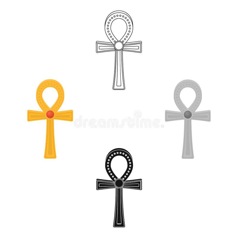 Ankh ikona w kresk?wce, czer? styl odizolowywaj?cy na bia?ym tle Antycznego Egipt symbolu zapasu wektoru ilustracja ilustracja wektor