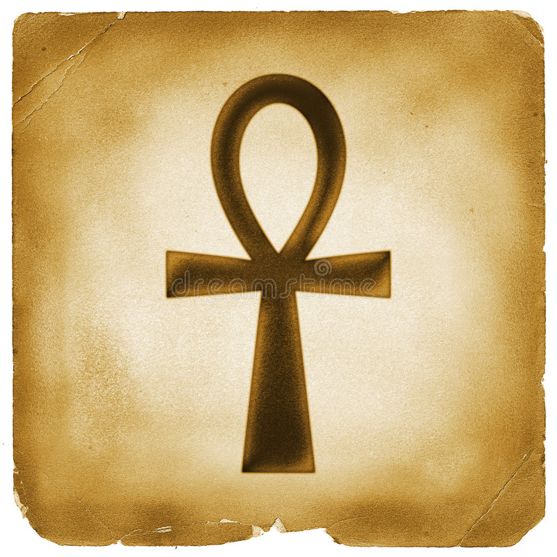Ankh life Egyptian symbol old paper. Ankh in ancient Egypt as a symbol of life (Egyptian Cross) on weathered papyrus royalty free illustration