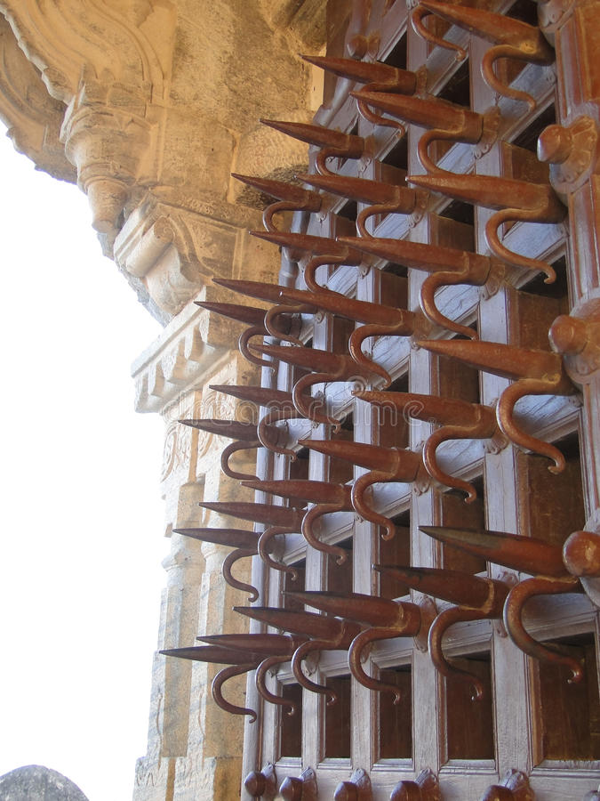 Ankh spiked gate for defense against war elephants royalty free stock image