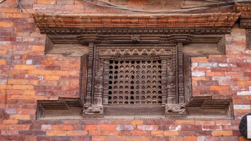Ankhi Jhyal, fenêtre Nepali traditionnelle image libre de droits