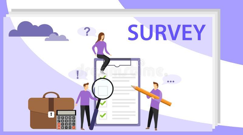 Ankieta wektoru ilustracja Ludzie one badają Informacje zwrotne od klient?w lub opinii formy Klient odpowiedzi ilustracja wektor