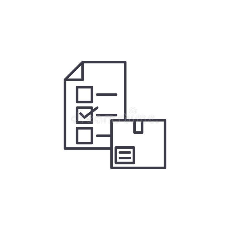 Ankiety ikony liniowy pojęcie Ankieta wektoru kreskowy znak, symbol, ilustracja royalty ilustracja