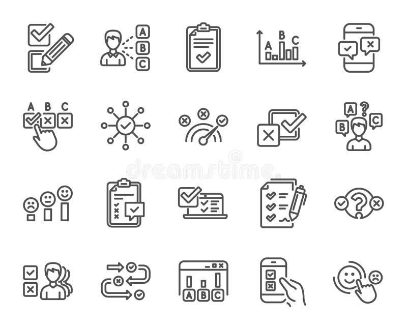 Ankiety lub raportu kreskowe ikony Set opinia, klient satysfakcja wektor ilustracji