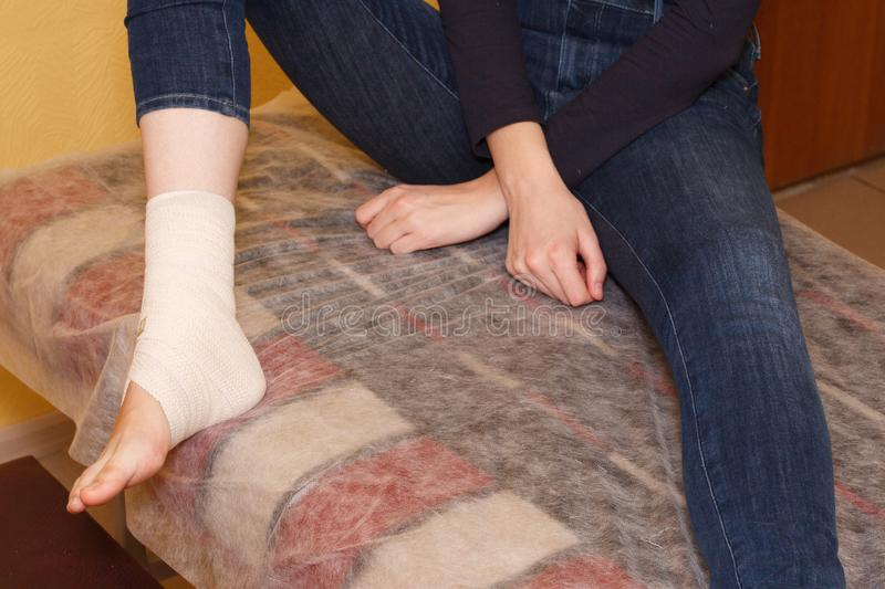 Ankle injury medical bandage royalty free stock photo