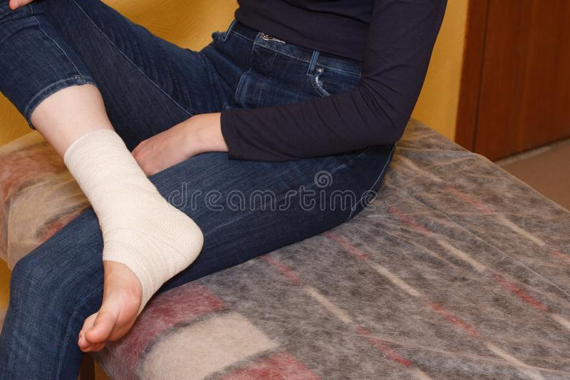Ankle injury medical bandage stock image