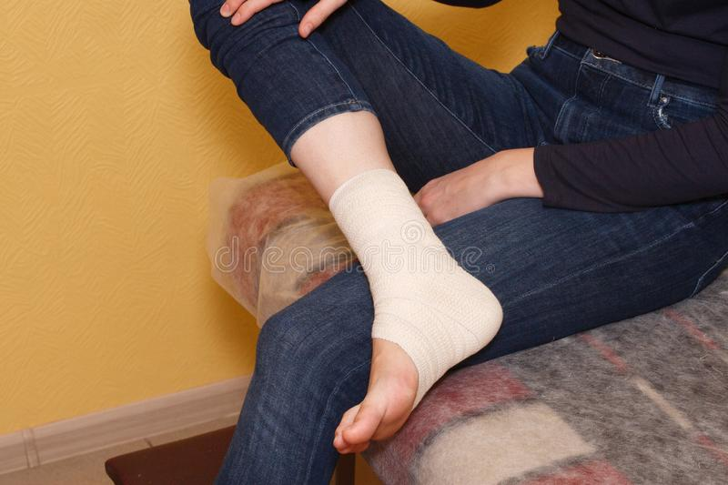 Ankle injury medical bandage royalty free stock photos