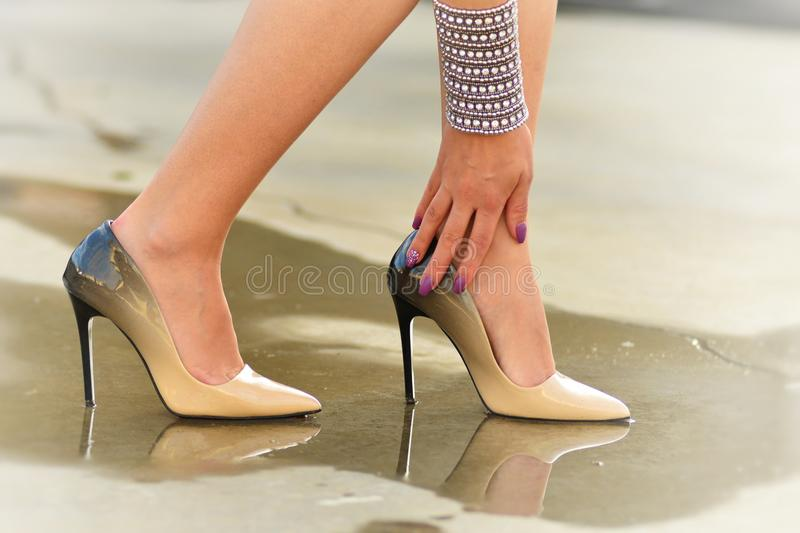 Download Ankle Issues stock image. Image of shoe, female, silver - 83643227