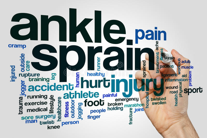 Ankle sprain word cloud concept on grey background royalty free stock images