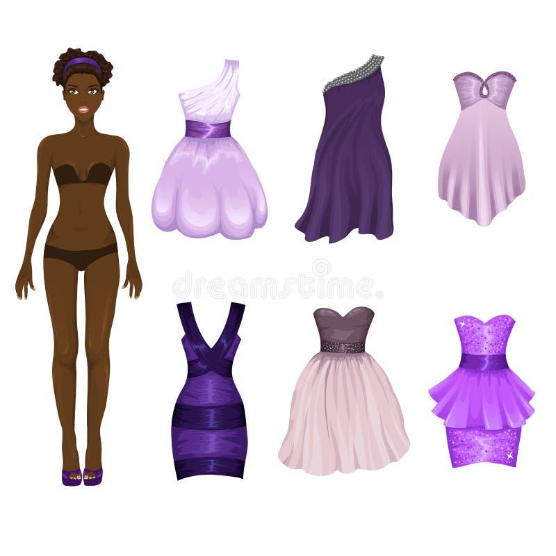 Ankleidepuppe mit einer Zusammenstellung von purpurroten Kleidern lizenzfreie abbildung