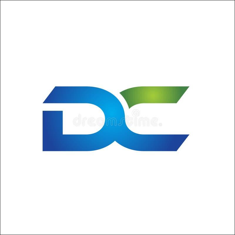 Anknuten bokstavslogo för DC företag royaltyfri illustrationer