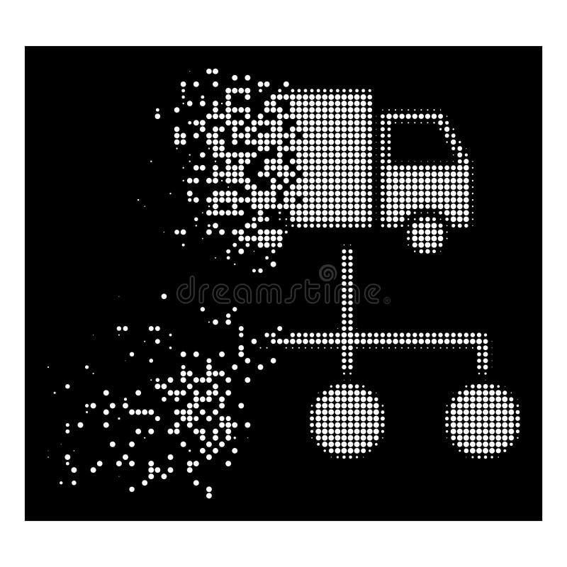 Anknyter försvinnande prickig rastrerad lastbilfördelning för vit symbolen vektor illustrationer