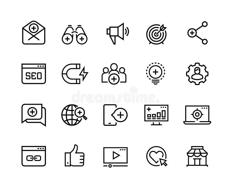 Ankommande marknadsföra linje symboler Åtgärdar det sociala massmedia för ledning, marknadsföra påverkan och dragningen för målåh royaltyfri illustrationer