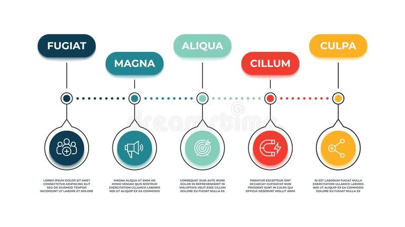 Ankommande marknadsföra symbolsbaner Åtgärda åhörarepåverkan, instrument för marknadsföringsstrategi och webbplatsbefordranbegrep royaltyfri illustrationer