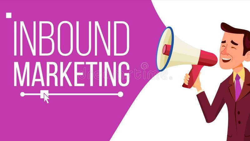 Ankommande marknadsföringsbanervektor Affärsadvertizing Man med megafonen CTA Email som landar sidan, Analytics vektor illustrationer