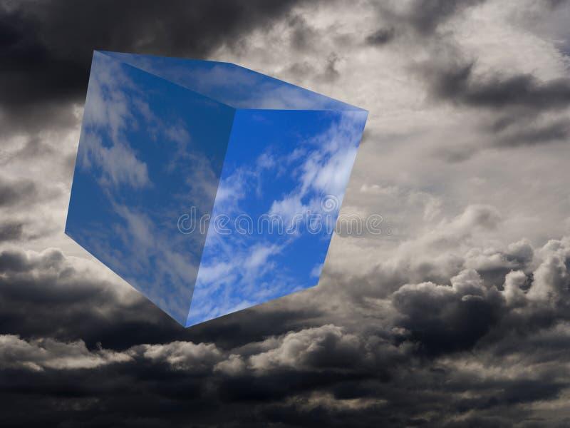 Ankommen des blauen Himmels und des Sonnenscheins Spaßwetterkonzept, Würfel des Blaus gegen stürmische Himmel Surreales Bild stockfotografie