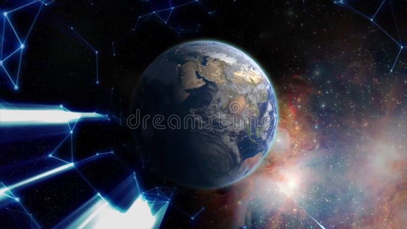 Ankommendes Blaulicht, das in Richtung zu spinnender Erde mit Hinterlicht sich bewegt Wissenschaftlicher Hintergrund und abstrakt stock abbildung