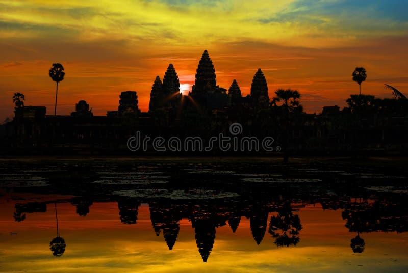 Ankor Wat at sunrise royalty free stock photo
