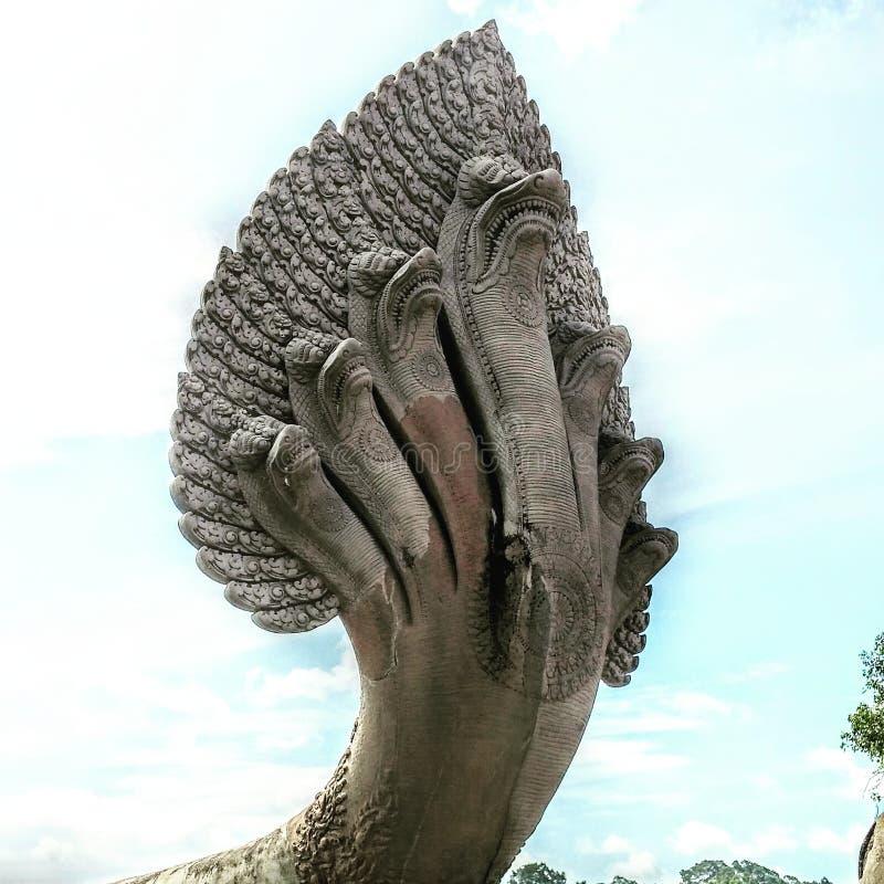 Ankor Watt. Cambodian seven headed serpent stock images