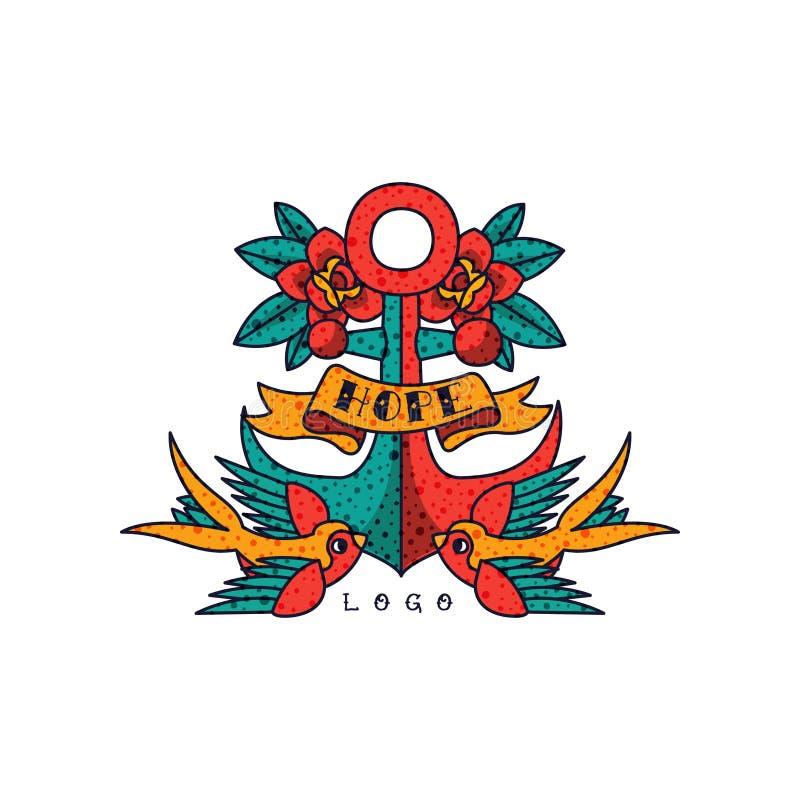 Ankra, steg blommor, bandet och ordhopp, klassisk amerikansk för tatueringvektor för gammal skola illustration på en vit bakgrund royaltyfri illustrationer