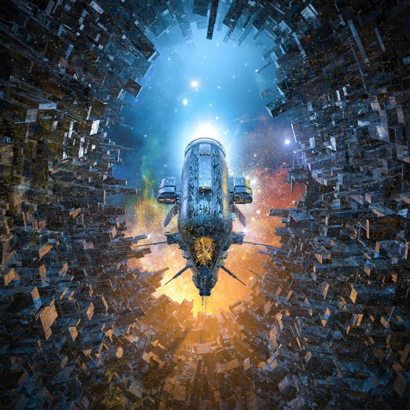 Ankunft auf Weltraumkolonie stock abbildung