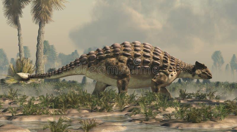 Ankylosaurus in een Krijtachtig Moerasland stock illustratie