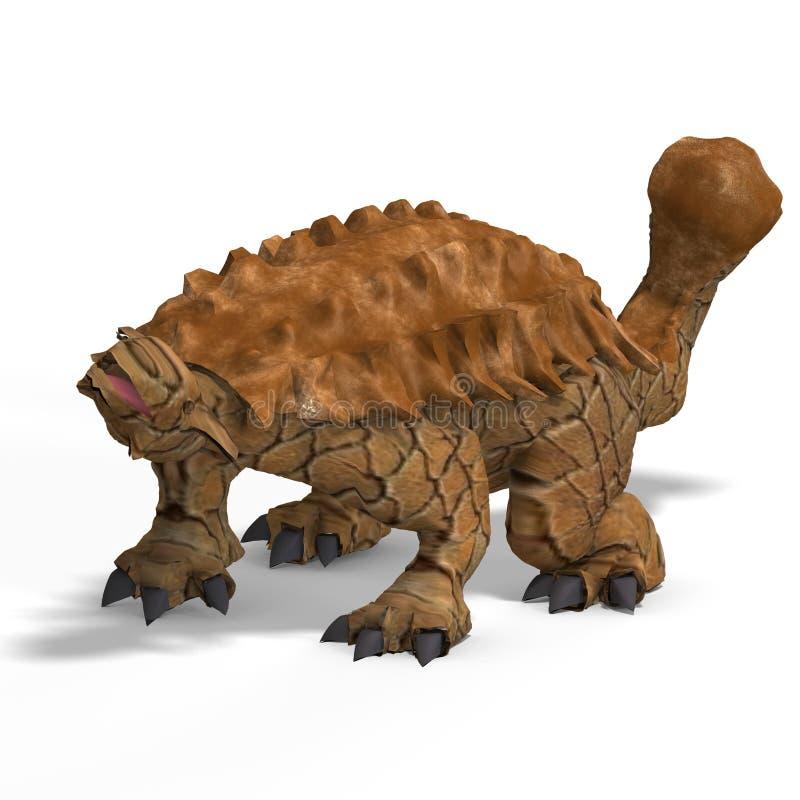 Ankylosaurus estranho do dinossauro com trajeto de grampeamento ilustração royalty free