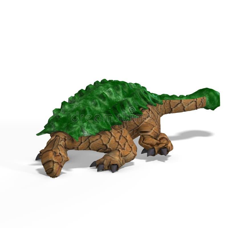 Ankylosaurus estranho do dinossauro com trajeto de grampeamento ilustração stock