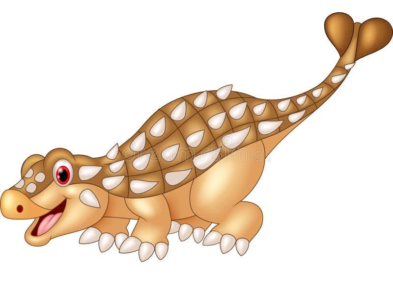 Ankylosaurus feliz dos desenhos animados no fundo branco ilustração stock
