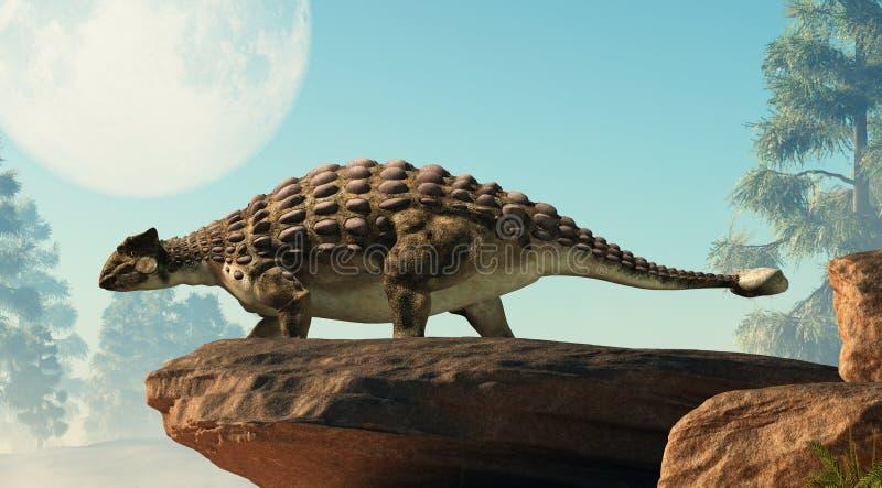 Ankylosaurus Looking at the Full Moon royalty free illustration