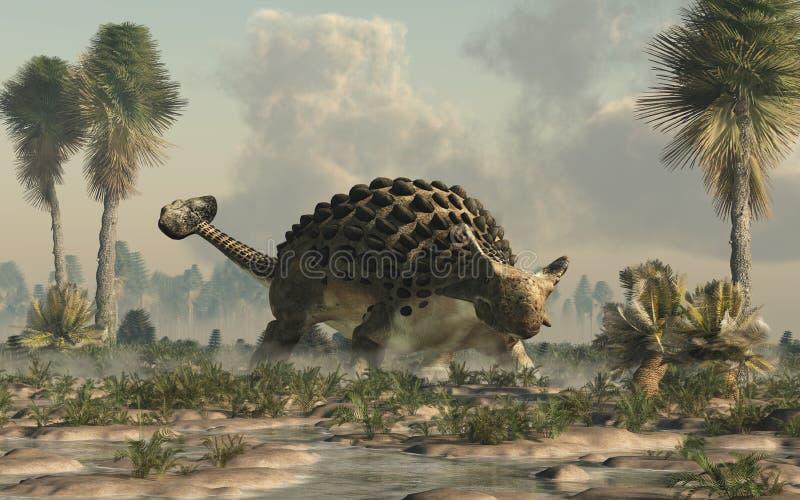 Ankylosaurus in una zona umida illustrazione vettoriale