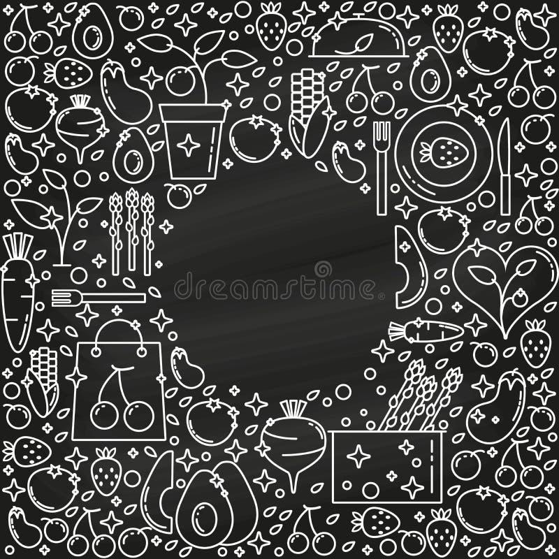 Anlage-ansässiger Nahrungsmittelkreisrahmen mit dünner Linie Ikonen auf schwarzem Hintergrund Gemüse- und Fruchtnahrung auf Kreid stock abbildung