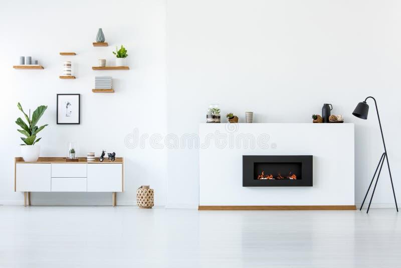 Anlage auf hölzernem Schrank im weißen Wohnungsinnenraum mit Kopie s lizenzfreie stockfotografie
