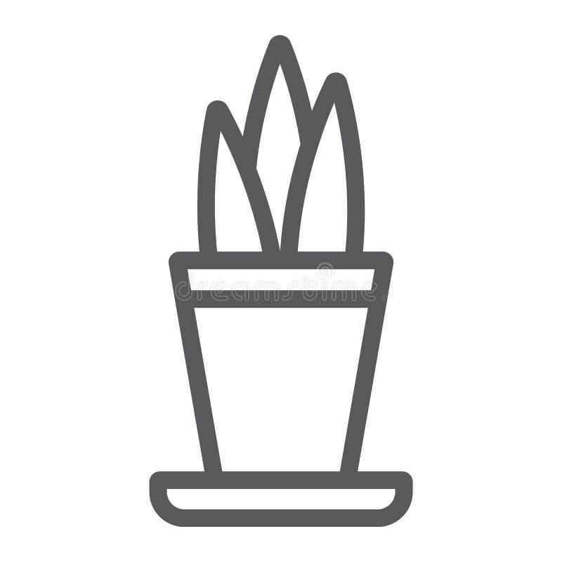 Anlage in der Topflinie Ikone, mit Blumen und Haus, Blumentopfzeichen, Vektorgrafik, ein lineares Muster auf einem weißen Hinterg lizenzfreie abbildung