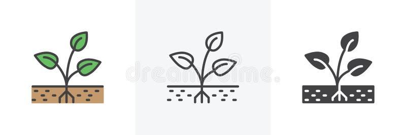 Anlage mit Wurzel in der Bodenikone lizenzfreie abbildung