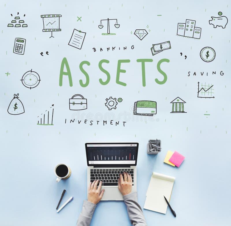 Anlagegut-Grundbesitz-Waren-Kapitalbudget-Konzept stockfoto