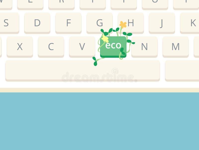 Anlagen, die auf Computertastatur wachsen, um das eco darzustellen freundlich lizenzfreie abbildung