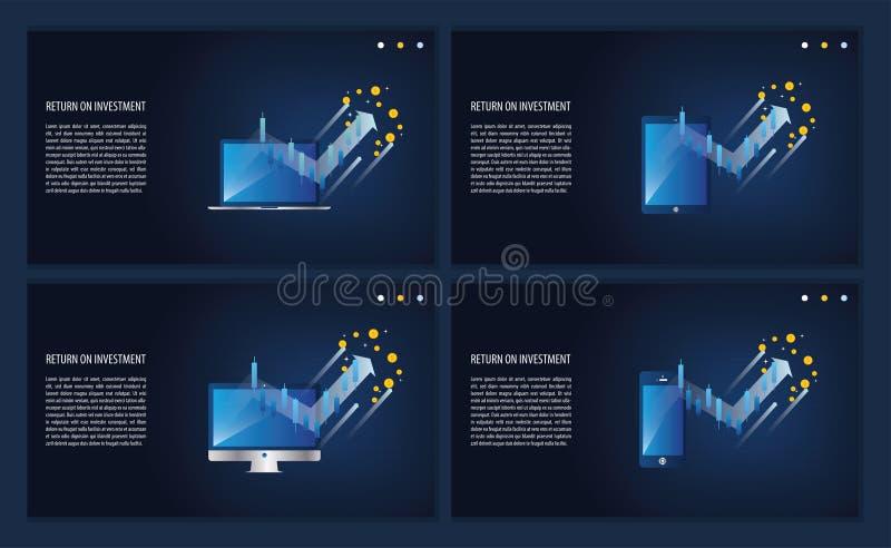 Anlagenrendite ROIdiagramm und -diagramm im Laptop, im Computer, im Telefon und in der Tablette Gesch?ftswachstumspfeile zum Erfo stock abbildung