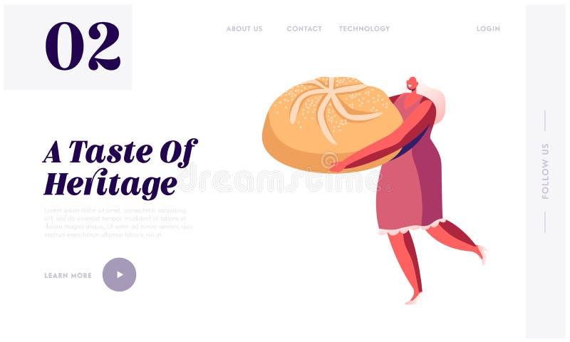 Anlandeseite für Bäckerei und Süßspeisen Tiny Woman Holding Huge Bun Pastry Muffin Treat Confectionery Dessert vektor abbildung