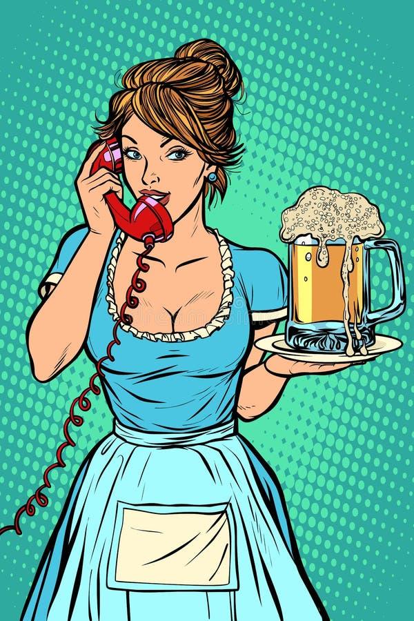 anlieferung weibliches Haushaltungsarbeitskraftmädchen, das Bett mit Bettzeug am Gasthausraum macht kellnerin Becher Bier stock abbildung