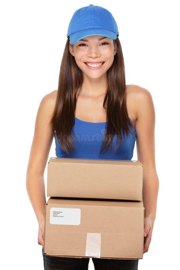 Anlieferungspersonen-Holdingpakete lizenzfreies stockbild