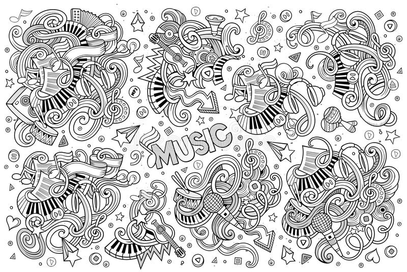 Anmärker den knapphändiga för klottertecknade filmen för vektorn handen drog uppsättningen av musik royaltyfri illustrationer