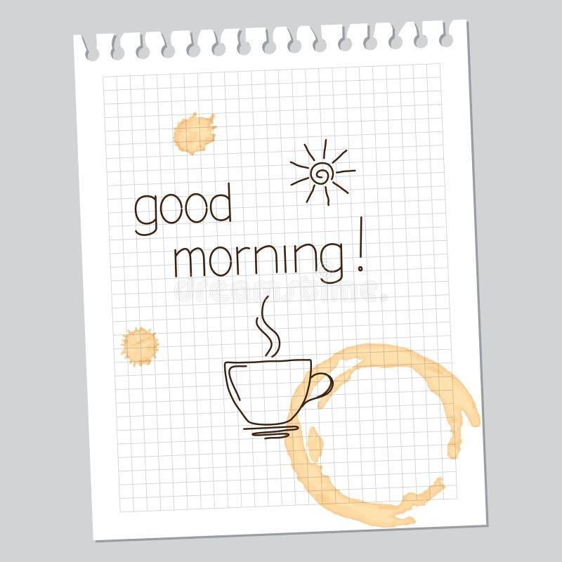 Anmärkning för bra morgon royaltyfri illustrationer