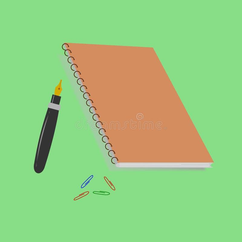 Anmärkning för kontorshjälpmedelbok och penna, illustrationvektor royaltyfri illustrationer